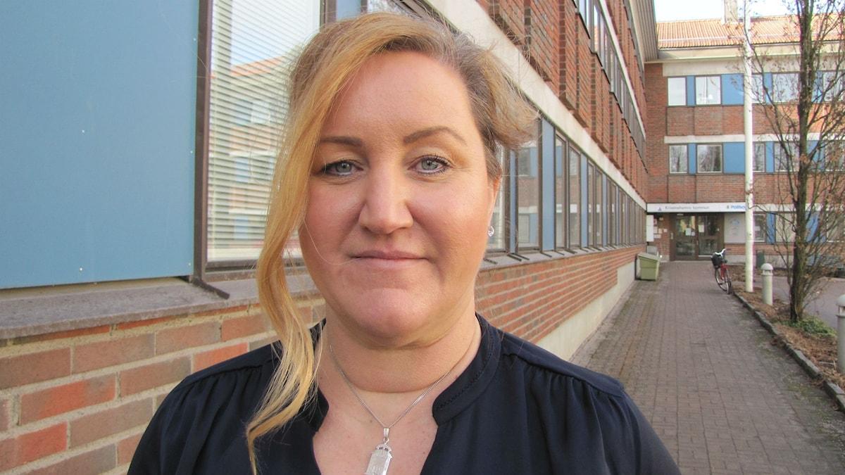 Marie Oudin, moderat kommunpolitiker i Kristinehamn. Foto: Magnus Hermansson/Sveriges Radio.
