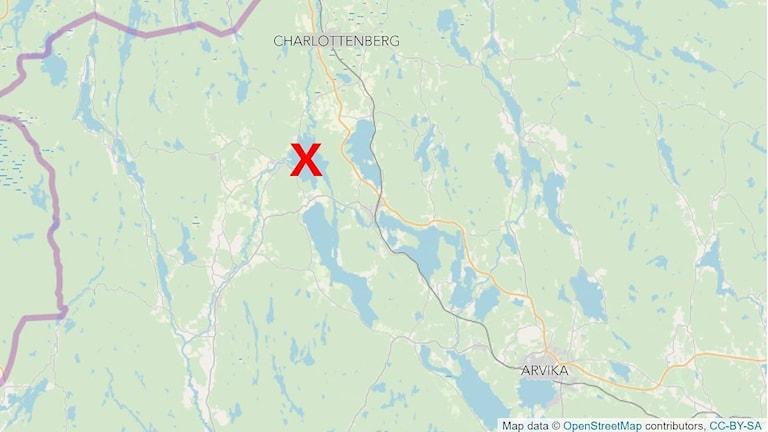 Karta som visar sjön Hugn. Foto: OpenStreetMap.