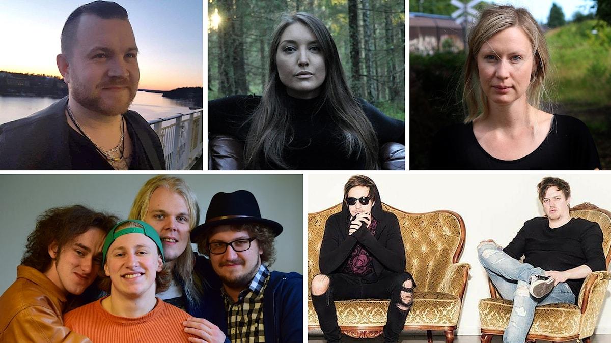 Frippe, Emmelie Tiponi, Clara Sjöberg, Rosehip Soup och Wolwer. Foto: Privat och Robert Stålbro