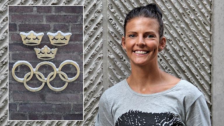 De olympiska ringarna och Anna Lindberg. Foto: Jessica Gow/TT och Örjan Bengtzing/Sveriges Radio.