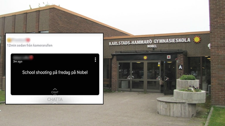 Entrén Nobelgymnasiet och en infälld bild av ett hot på sociala medier. Foto Sveriges Radio och Skärmdump.