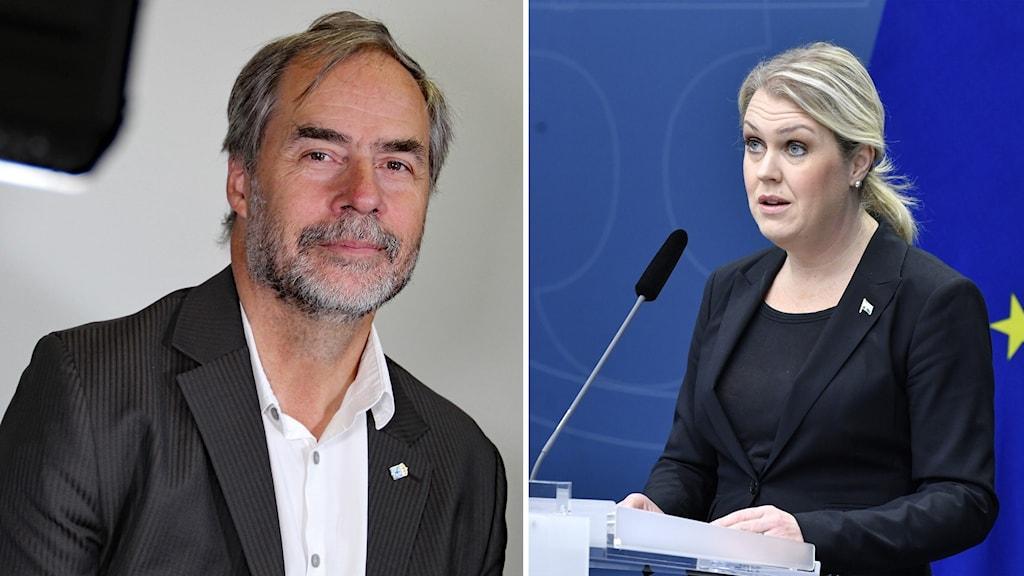 En man till vänster, en kvinna till höger.