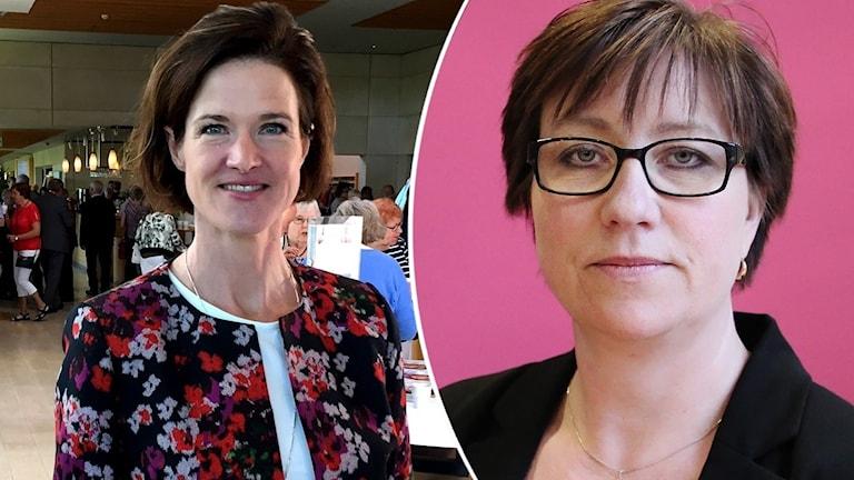 Moderaterna Anna Kinberg Batra och Stina Höök. Foto: Sveriges Radio.