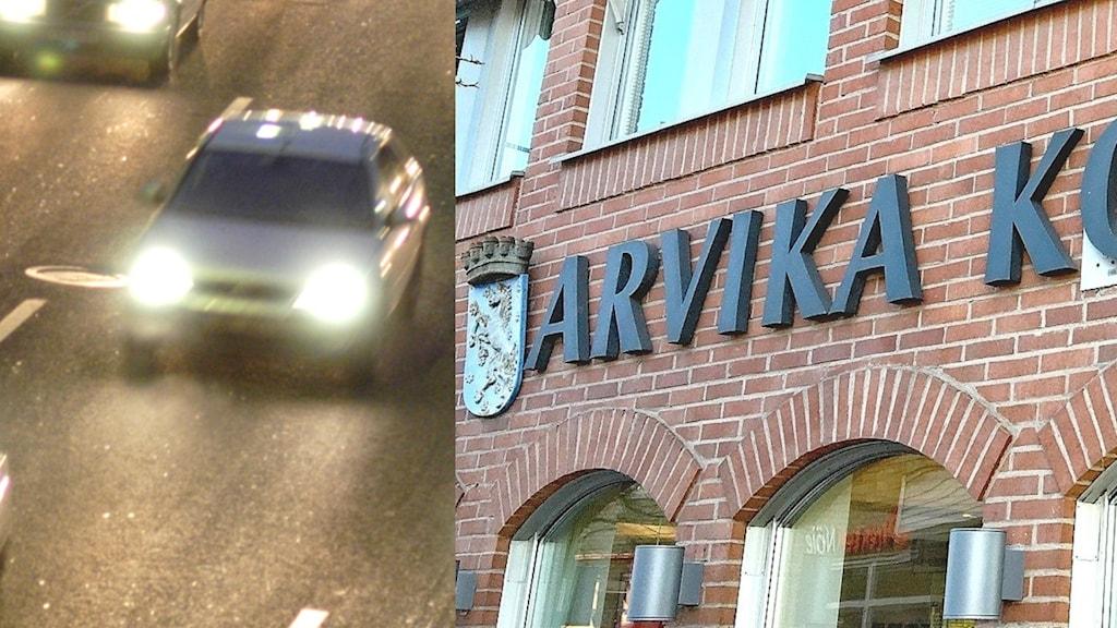 Bil i mörker och Arvika kommunhus.