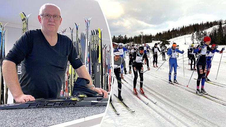 Dan Norström och till höger ses en mängd längdskidåkare. Foto: Louise Uhlin/Sveriges Radio.