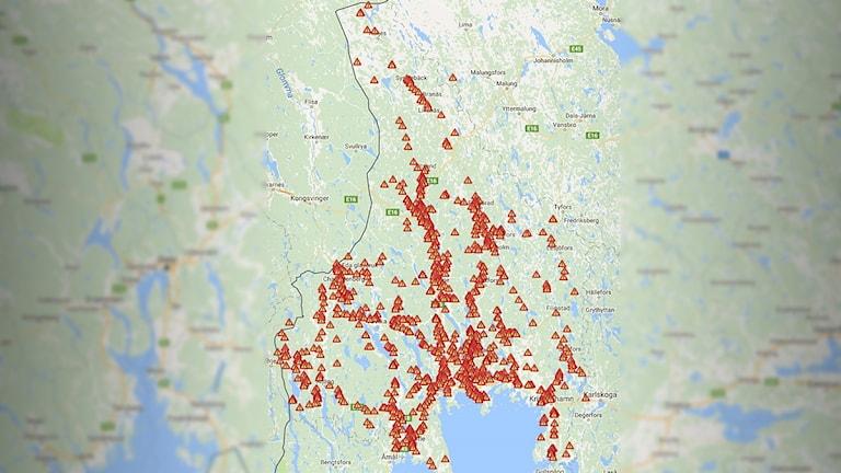 En karta som visar var viltolyckor inträffat. Foto:  Nationella Viltolycksrådet,