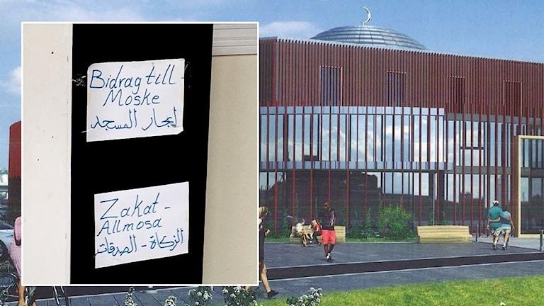 En affisch om inslamlign av pengar och i bakgrunden syns skissen av den planerade moskén.