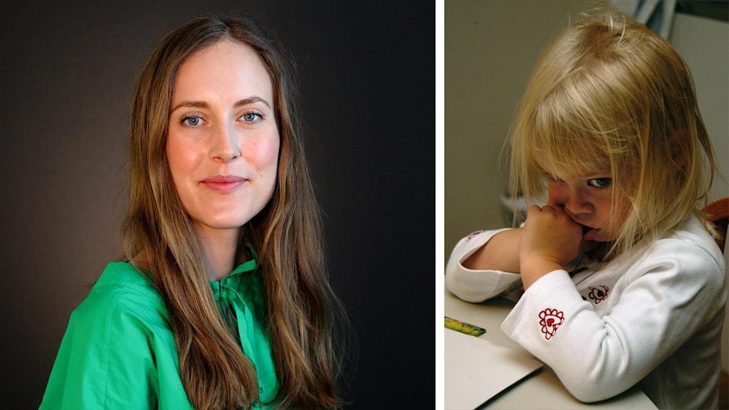 Sofia Nääs och en liten flicka som blygt tittar under lugg. Foto: Örjan Bengtzing/Sveriges Radio och Hasse Holmberg/TT.