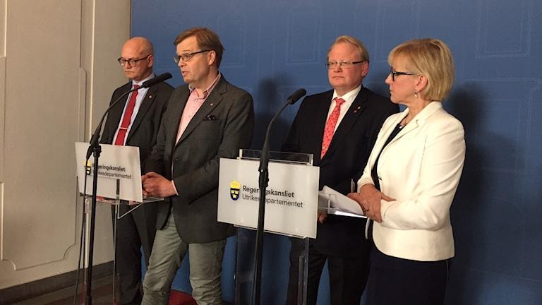 Presskonferens på UD. Foto: Johan Hellström/Sveriges Radio