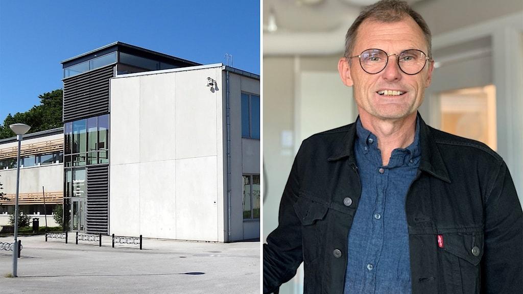 Till vänster: Wisbygymnasiet. Till höger: Utbildningsdirektör Torsten Flemming.