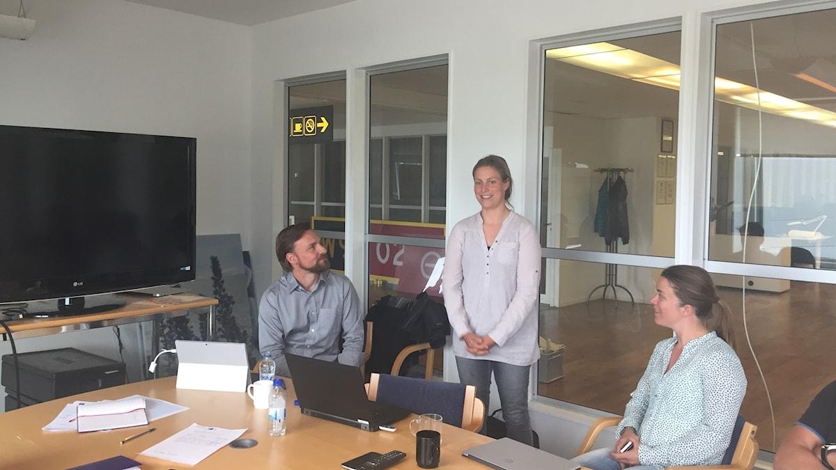 Föreläsaren Jim Collin och Agneta Green från länsstyrelsen på Gotland inspirerar gotländska företagare.