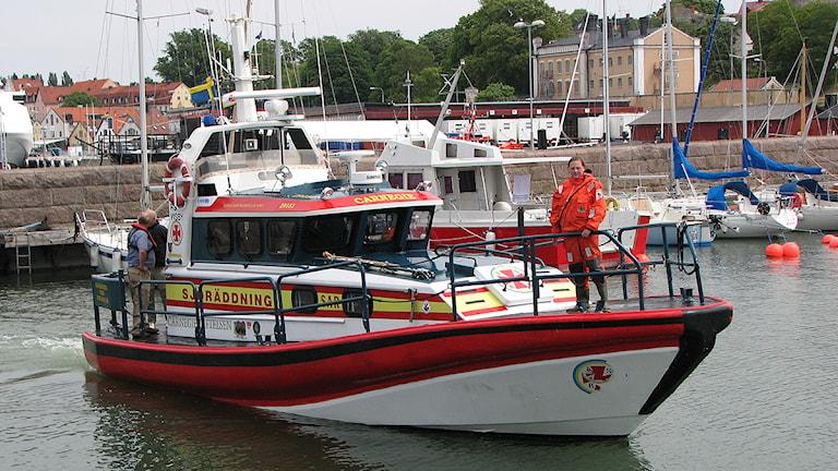 Sjöräddningsbåt i Visby hamn. Foto: SR Gotland