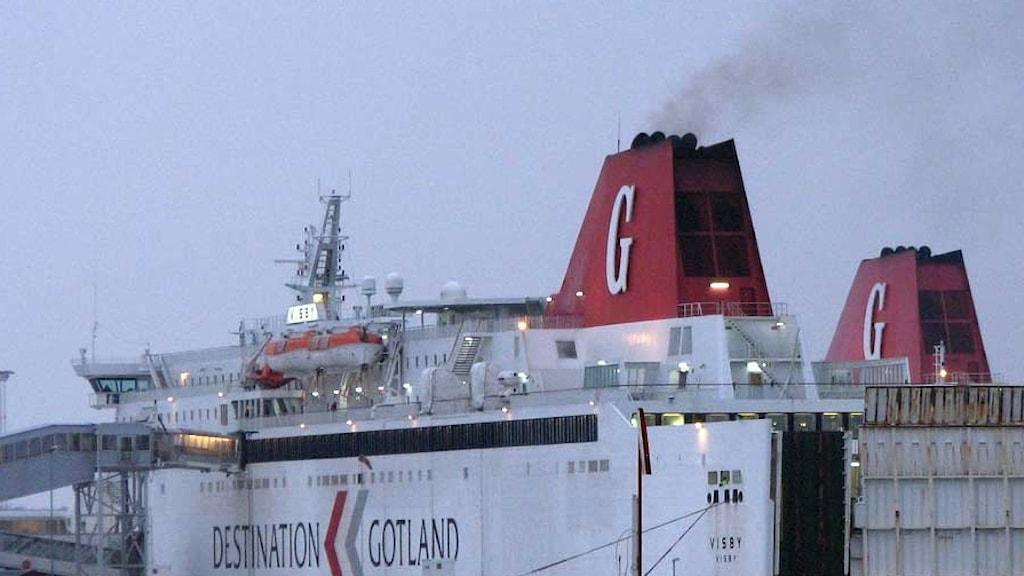 Destination Gotlands färjor i Visby hamn.