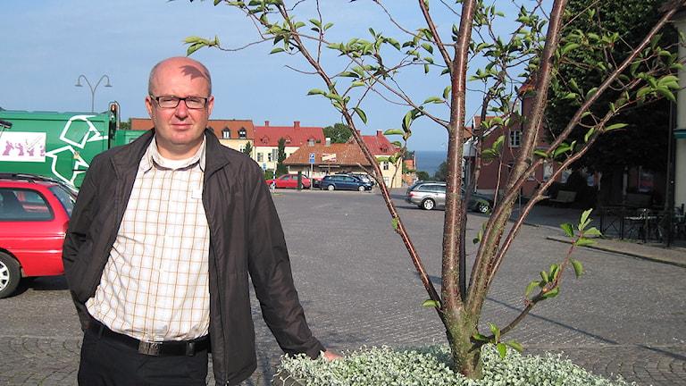 Magnus Larsson på Södertorg. Foto: Marie Nilsson/SR Gotland