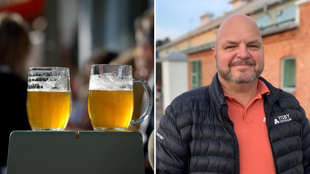 Till vänster: två ölglas på en uteservering. Till höger: en man i dunjacka.