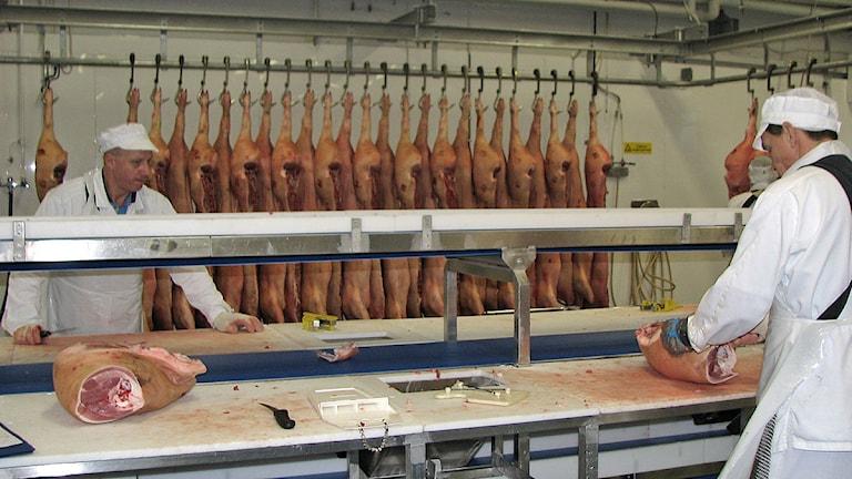 Styckning vid Gotlands slagteri. Foto: Ib Green-Petersen / SR Gotland
