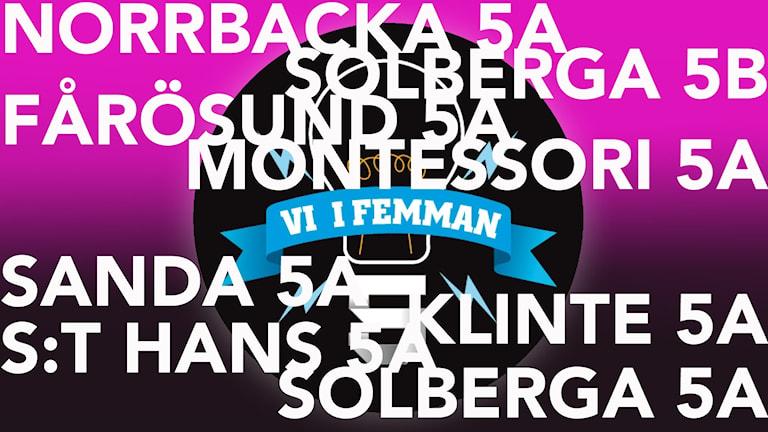 Bild som visar vilka klasser som tävlar i Vi i femman i P4 Gotland 2017.