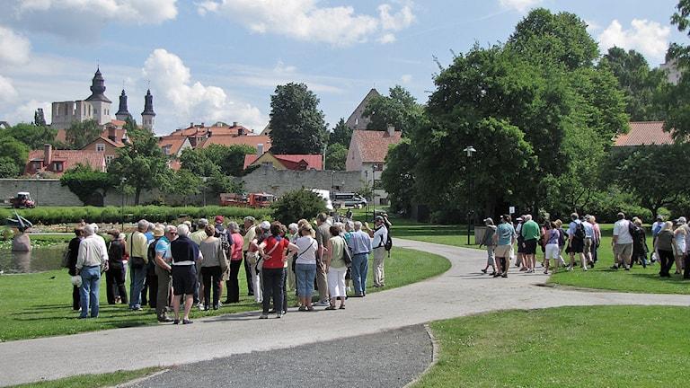 Turistgrupper med guider i Almedalen.