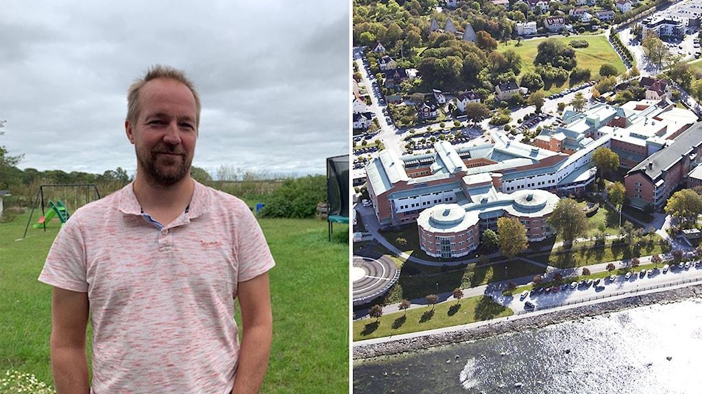 Till vänster: Niclas Vikström. Till höger: Visby lasarett.