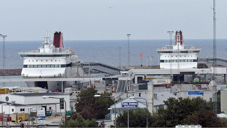 Gotlandsfärjor i Visby hamn. Foto: Mika Koskelainen/SR Gotland