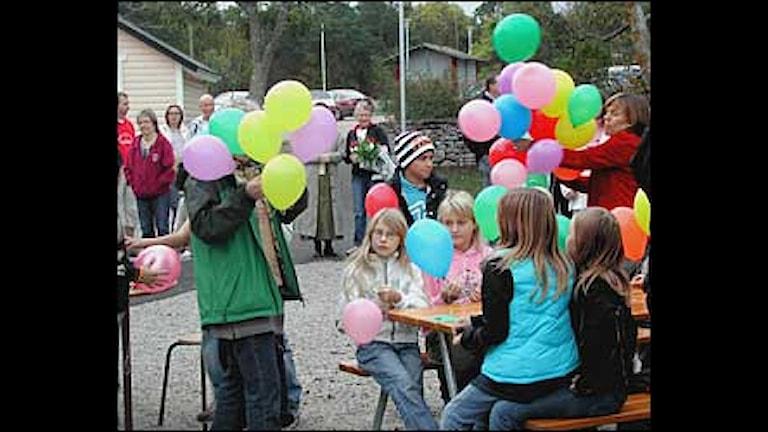 Återinvigningen av Endre skola firas. Foto Catharina Gustafsson SR Gotland