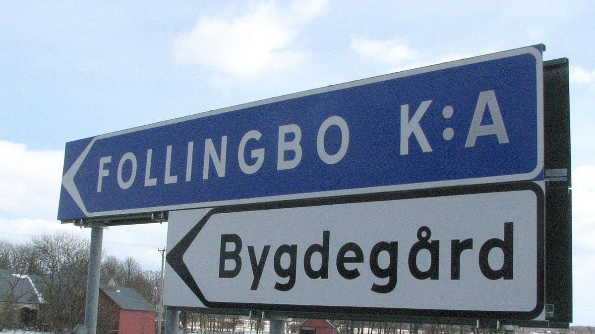 Vägskylt till Follingbo bygdegård. Foto: Eleonor Svensson / SR Gotland