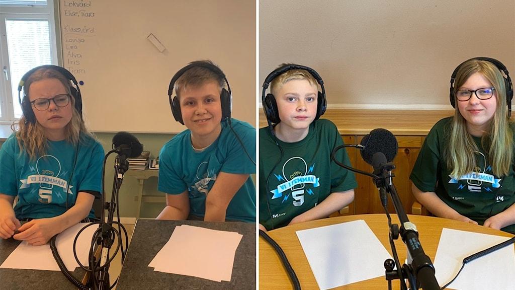 Fyra elever, två i blåa tröjor och två i gröna tröjor, sitter vid två bord med två mikrofoner.