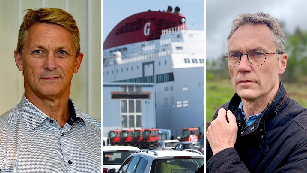 Bilden är tredelad: Trafikverkets presschef Bengt Olssson, en gotlandsfärja, Centerpartisten och riksdagsledamoten Lars Thomsson från Gotland.