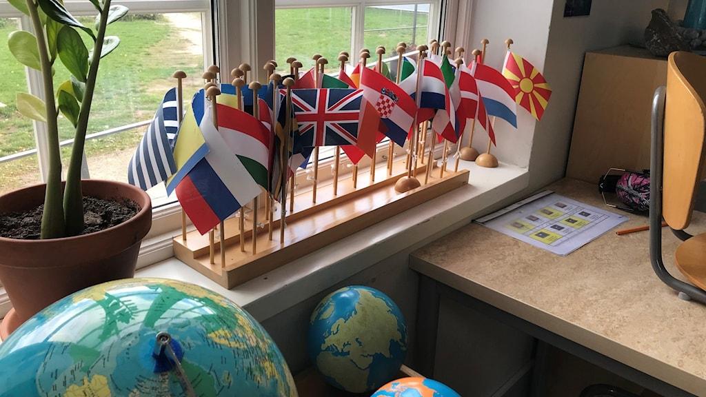 Flaggor i skola.