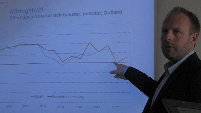 Jim Enström på arbetsförmedlingen redovisar en dyster prognos för 2012. Foto: Lasse Ahnell/SR Gotland