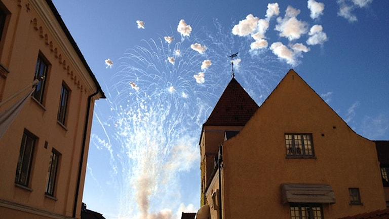 Fyrverkerier från Kallis. Foto: Jennie Persson/SR Gotland.