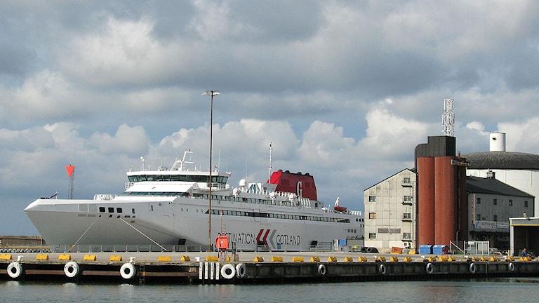 Gotlandsfärjan HSC Gotlanadia II i Visby hamn. Foto: Henrik Wallenius/SR Gotland