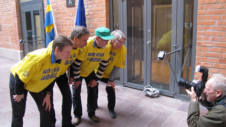 Gotlandsupproret, från vänster: Susanne Welin Berger, Ted Ljungqvist, Gunnar Bendelin och Kicki Kolsjö. Foto: Erik Petersson / SR Gotland