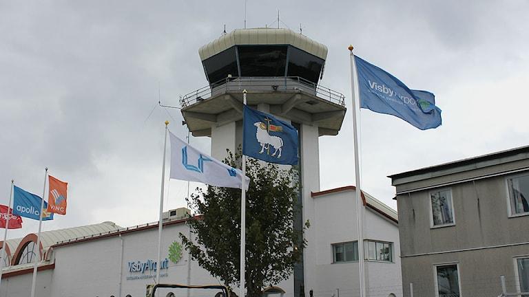Flygledartorn på Visby flygplats. Foto: SR Gotland