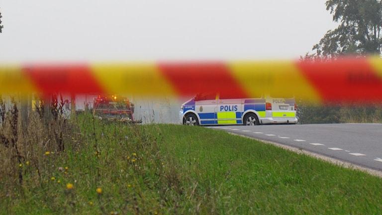 Trafikolycka. Foto: Jonas Neuman / SR Gotland