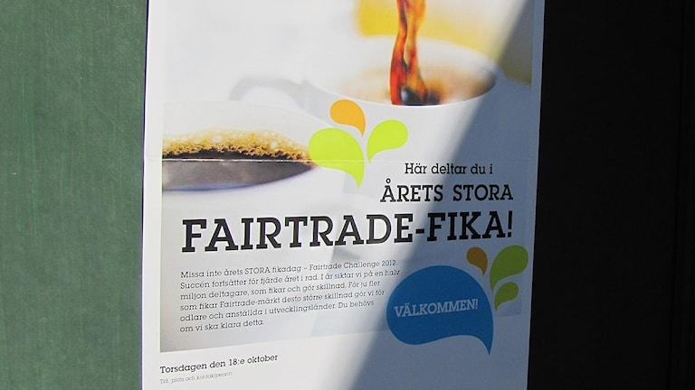 Fairtrade fika. Foto: Håkan Erlandsson/Sveriges Radio