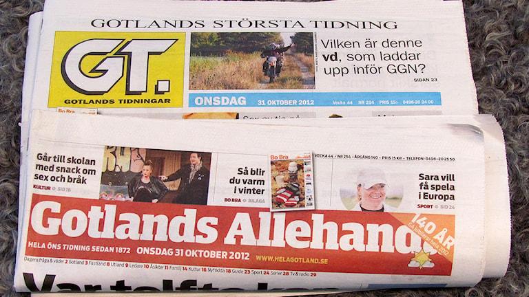 Gotlands Tidningar och Gotlands Allehanda. Foto: Mika Koskelainen/SR Gotland