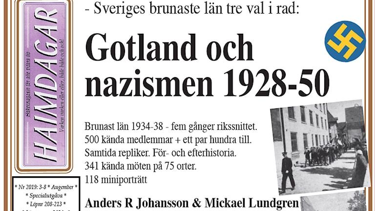 Del av framsidan på Haimdagars utgåva om nazismen på Gotland.