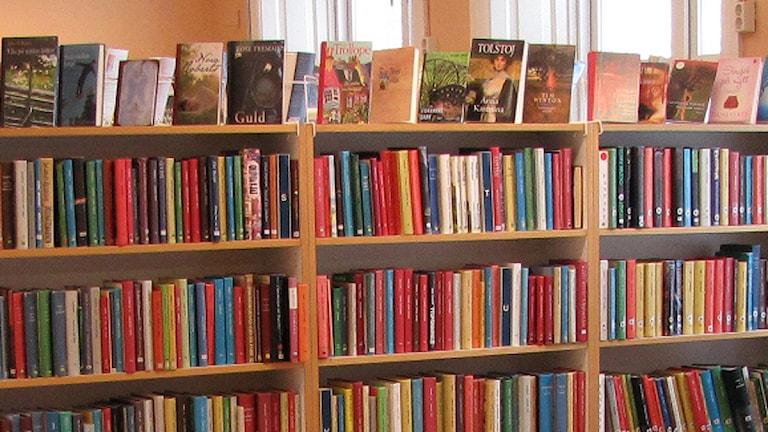 Bokhyllor på bibliotek. Foto: SR Gotland