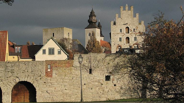 Visby från sjömuren i Almedalen. Foto: Henrik Wallenius/SR Gotland