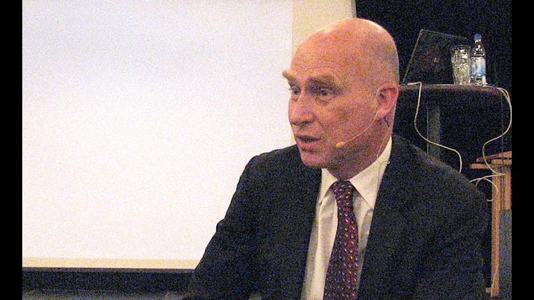 Lars O Grönstedt som är Nord Streams talesman i Sverige. Foto: SR Gotlan d
