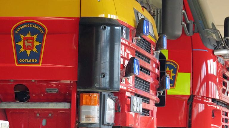 Brandbilar vid räddningstjänsten i Visby. Foto: Filip Joelsson/SR Gotland