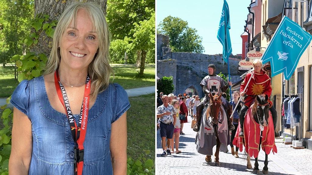 Bilden är tvådelad: Till vänster en leende kvinna; till höger covidriddarna.