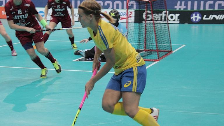 Anna Jakobsson i landslaget. Foto: Hanna Sihlman