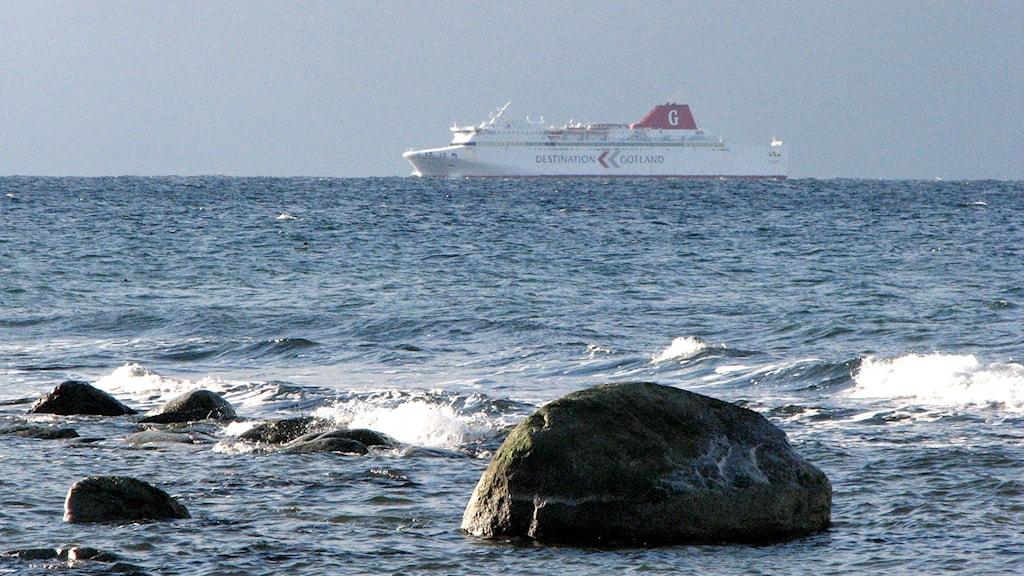 Gotlandsfärjan närmar sig Visby. Foto: P4 Gotland Sveriges Radio