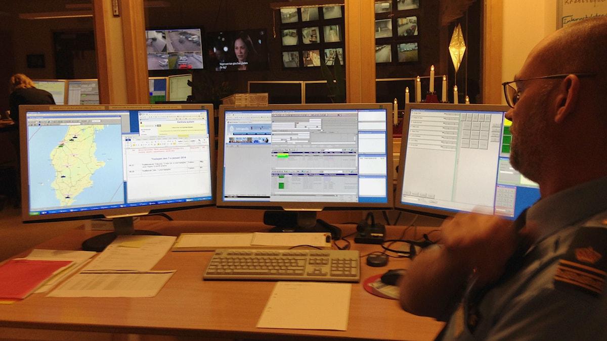Polisens sambandscentral. Foto: Patrik Annerud/P4 Gotland Sveriges Radio