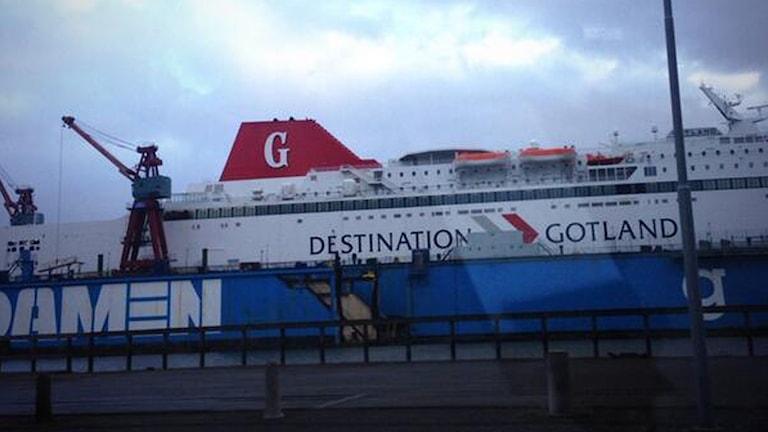 Destination Gotlands fartyg m/s Gotland i docka på Cityvarvet i Göteborg. Foto: Karl Malmström / Twitter