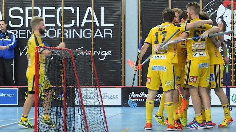 Jubel efter att Visby IBK gjort mål mot Hagunda.