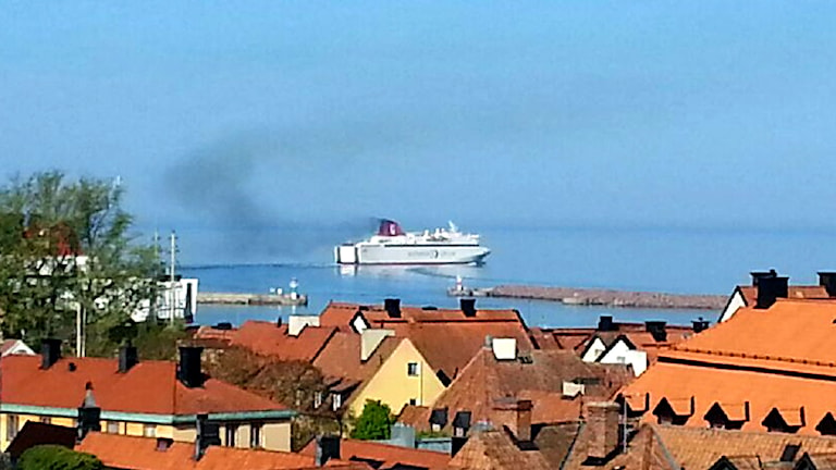 Gotlandsfärjan lämnar Visby hamn. Foto: Eva Sjöstrand/P4 Gotland Sveriges Radio