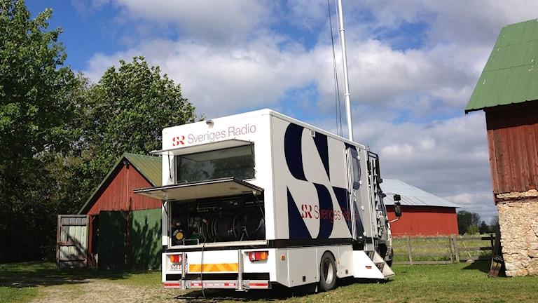 Radio Gotlands sändningsbuss, klar för direktsändning. Foto: Mika Koskelainen/P4 Gotland Sveriges Radio
